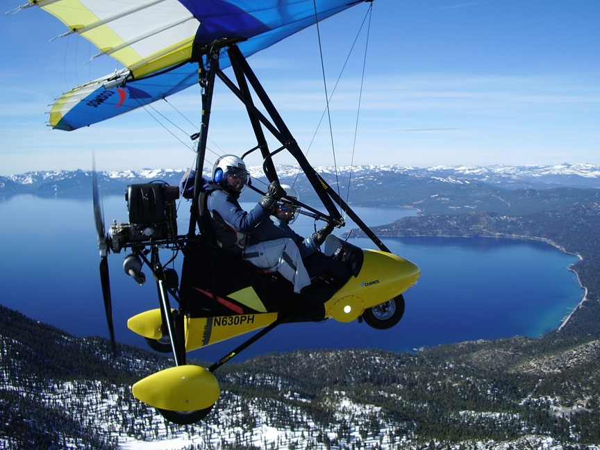 Photos of hang gliding lessons above lake tahoe